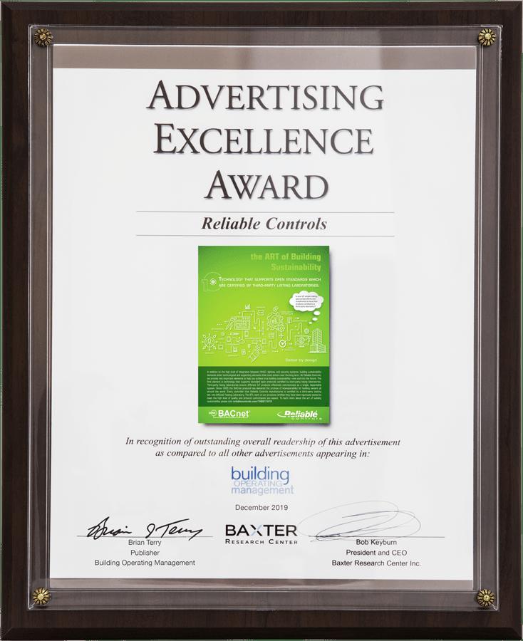 Advertising Excellence Award - December 2019