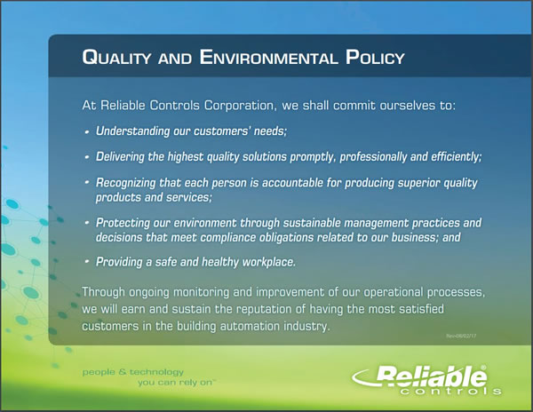 Reliable Controls Quality Policy